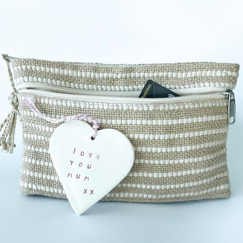 Marie Clutch Purse in natural with a white stripe